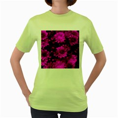 Phenomenal Blossoms Hot  Pink Women s Green T Shirt