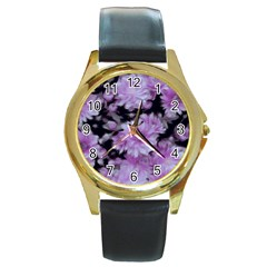 Phenomenal Blossoms Lilac Round Gold Metal Watches by MoreColorsinLife