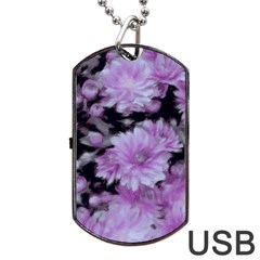 Phenomenal Blossoms Lilac Dog Tag Usb Flash (two Sides)  by MoreColorsinLife