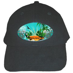 Surfboard With Palm And Flowers Black Cap by FantasyWorld7