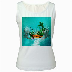 Surfboard With Palm And Flowers Women s Tank Tops by FantasyWorld7