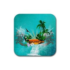 Surfboard With Palm And Flowers Rubber Square Coaster (4 Pack)  by FantasyWorld7