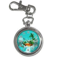 Surfboard With Palm And Flowers Key Chain Watches by FantasyWorld7