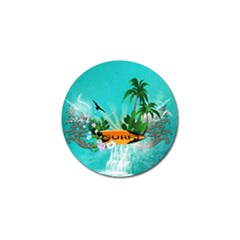Surfboard With Palm And Flowers Golf Ball Marker (10 Pack) by FantasyWorld7