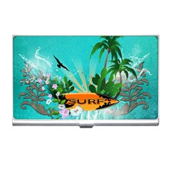 Surfboard With Palm And Flowers Business Card Holders by FantasyWorld7