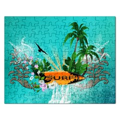 Surfboard With Palm And Flowers Rectangular Jigsaw Puzzl