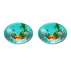 Surfboard With Palm And Flowers Cufflinks (oval) by FantasyWorld7