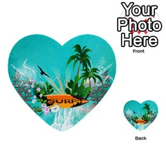 Surfboard With Palm And Flowers Multi Purpose Cards (heart)  by FantasyWorld7