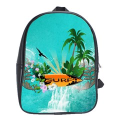 Surfboard With Palm And Flowers School Bags(Large)  by FantasyWorld7