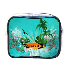 Surfboard With Palm And Flowers Mini Toiletries Bags by FantasyWorld7