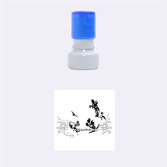 Surfboard With Palm And Flowers Rubber Round Stamps (small) by FantasyWorld7