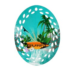 Surfboard With Palm And Flowers Oval Filigree Ornament (2 Side)  by FantasyWorld7