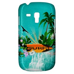 Surfboard With Palm And Flowers Samsung Galaxy S3 Mini I8190 Hardshell Case by FantasyWorld7