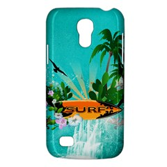 Surfboard With Palm And Flowers Galaxy S4 Mini by FantasyWorld7