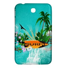 Surfboard With Palm And Flowers Samsung Galaxy Tab 3 (7 ) P3200 Hardshell Case  by FantasyWorld7