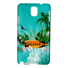 Surfboard With Palm And Flowers Samsung Galaxy Note 3 N9005 Hardshell Case by FantasyWorld7