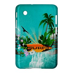 Surfboard With Palm And Flowers Samsung Galaxy Tab 2 (7 ) P3100 Hardshell Case  by FantasyWorld7