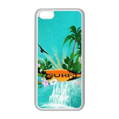 Surfboard With Palm And Flowers Apple Iphone 5c Seamless Case (white) by FantasyWorld7