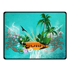 Surfboard With Palm And Flowers Double Sided Fleece Blanket (small)  by FantasyWorld7
