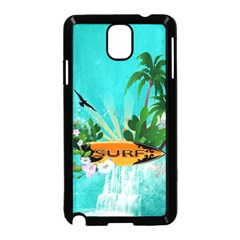 Surfboard With Palm And Flowers Samsung Galaxy Note 3 Neo Hardshell Case (black) by FantasyWorld7