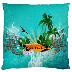 Surfboard With Palm And Flowers Standard Flano Cushion Cases (two Sides)  by FantasyWorld7