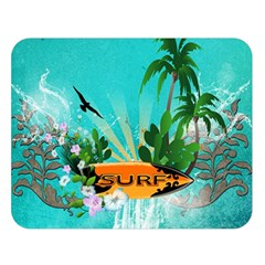 Surfboard With Palm And Flowers Double Sided Flano Blanket (large)  by FantasyWorld7