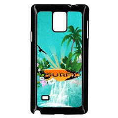 Surfboard With Palm And Flowers Samsung Galaxy Note 4 Case (Black) by FantasyWorld7
