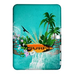 Surfboard With Palm And Flowers Samsung Galaxy Tab 4 (10 1 ) Hardshell Case