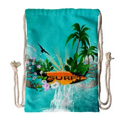 Surfboard With Palm And Flowers Drawstring Bag (large) by FantasyWorld7