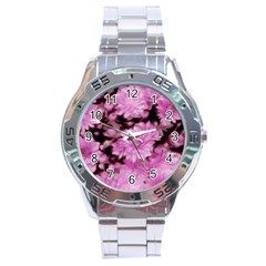 Phenomenal Blossoms Pink Stainless Steel Men s Watch by MoreColorsinLife