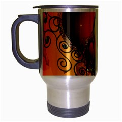Funny Cute Giraffe With Your Child In A Heart Travel Mug (silver Gray) by FantasyWorld7