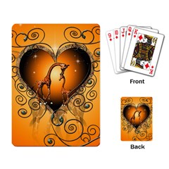 Funny Cute Giraffe With Your Child In A Heart Playing Card by FantasyWorld7