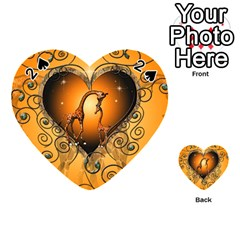 Funny Cute Giraffe With Your Child In A Heart Playing Cards 54 (heart)