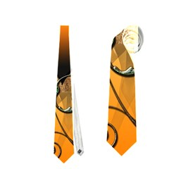 Funny Cute Giraffe With Your Child In A Heart Neckties (two Side)  by FantasyWorld7