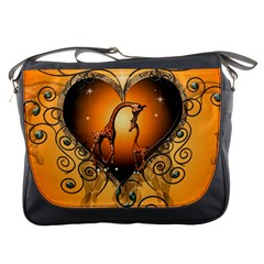 Funny Cute Giraffe With Your Child In A Heart Messenger Bags by FantasyWorld7