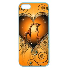 Funny Cute Giraffe With Your Child In A Heart Apple Seamless Iphone 5 Case (color) by FantasyWorld7