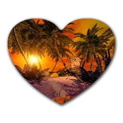 Wonderful Sunset In  A Fantasy World Heart Mousepads by FantasyWorld7