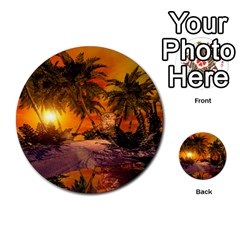 Wonderful Sunset In  A Fantasy World Multi Purpose Cards (round)