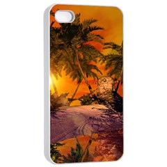 Wonderful Sunset In  A Fantasy World Apple Iphone 4/4s Seamless Case (white) by FantasyWorld7