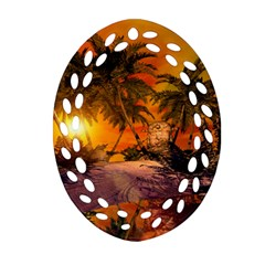 Wonderful Sunset In  A Fantasy World Ornament (oval Filigree)  by FantasyWorld7