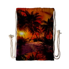 Wonderful Sunset In  A Fantasy World Drawstring Bag (small) by FantasyWorld7