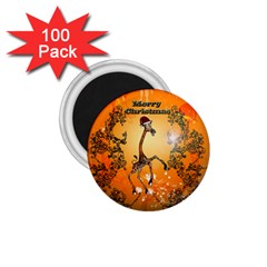 Funny, Cute Christmas Giraffe 1 75  Magnets (100 Pack)  by FantasyWorld7