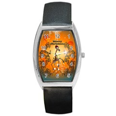 Funny, Cute Christmas Giraffe Barrel Metal Watches by FantasyWorld7