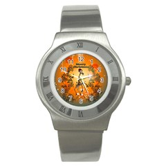 Funny, Cute Christmas Giraffe Stainless Steel Watches by FantasyWorld7