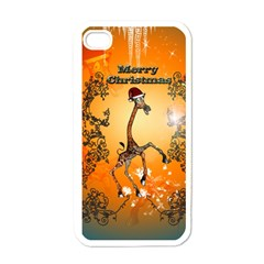 Funny, Cute Christmas Giraffe Apple Iphone 4 Case (white) by FantasyWorld7
