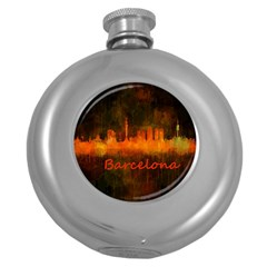 Barcelona City Dark Watercolor Skyline Round Hip Flask (5 Oz) by hqphoto