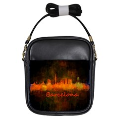 Barcelona City Dark Watercolor Skyline Girls Sling Bags by hqphoto