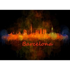 Barcelona City Dark Watercolor Skyline Birthday Cake 3d Greeting Card (7x5)