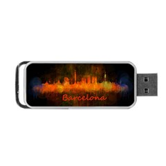 Barcelona City Dark Watercolor Skyline Portable USB Flash (Two Sides) by hqphoto