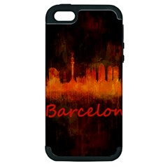 Barcelona City Dark Watercolor Skyline Apple Iphone 5 Hardshell Case (pc+silicone) by hqphoto